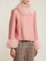 SAKS POTTS Dorthe fur-trimmed bubblegum-pink wool jacket ~ shaggy trim jackets