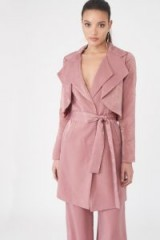LAVISH ALICE Double Layer Satin Trench Coat | luxe blush-pink coats