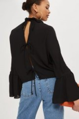 Topshop Double Ruffle Tie Back Blouse | black wide cuff blouses