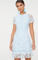 PRETTYLITTLETHING DUSTY BLUE FRILL HEM LACE BODYCON DRESS | semi sheer party dresses