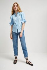 French Connection EASTSIDE COTTON BOW SHIRT DREAM BLUE / feminine tie sleeve shirts