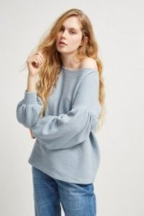 FRENCH CONNECTION ELLEN TEXTURED BALLOON SLEEVE SWEATER | blue jumpers