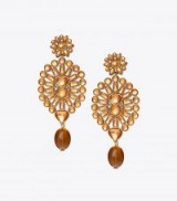 TORY BURCH EMBELLISHED CHANDELIER EARRING in Light Topaz / Vintage Gold ~ statement drop earrings