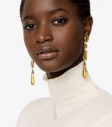 TORY BURCH EMBELLISHED LINEAR EARRING ~ chic drop earrings ~ yellow statement jewellery