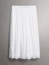 BURBERRY Embroidered Cotton Silk Voile Skirt ~ white summer midi skirts