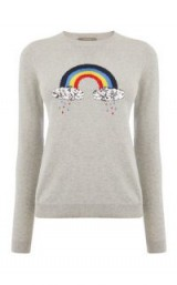 OASIS EMBROIDERED RAINBOW KNIT ~ grey crewneck jumpers