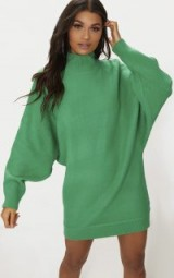 PRETTYLITTLETHING GREEN OVERSIZED JUMPER DRESS | batwing sweater dresses