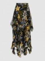 ERDEM Elsa Floral-Print Silk Midi Skirt ~ ruffled occasion skirts