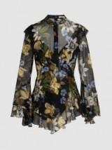 ERDEM Wanda Floral-Print Silk Blouse ~ ruffled occasion blouses