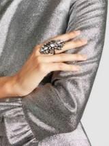 ERICKSON BEAMON China Club Embellished Pewter-Tone Ring ~ crystal rings ~ statement jewellery