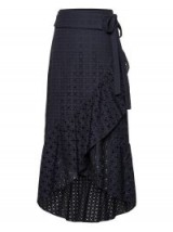 BANANA REPUBLIC Eyelet Ruffle-Wrap Skirt ~ navy blue skirts ~ day style