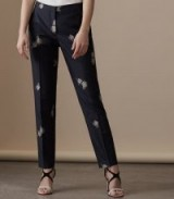 REISS FAUNA TROUSER EMBROIDERED TROUSER NAVY / blue floral trousers