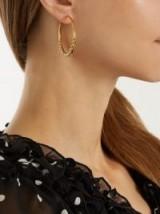 THEODORA WARRE Faux-pearl embellished silver hoop earrings ~ statement jewellery