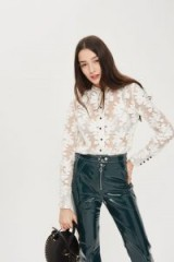 TOPSHOP Fil Coupe Lace Shirt – white collarless semi sheer floral shirts