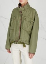 FREE PEOPLE Flight Line green cotton bomber jacket