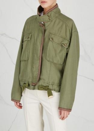 FREE PEOPLE Flight Line green cotton bomber jacket