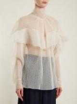 A.W.A.K.E. Flocked polka-dot ruffled tulle blouse ~ luxe semi sheer blouses
