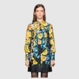GUCCI Florage print satin dress with bow ~ bold flower prints