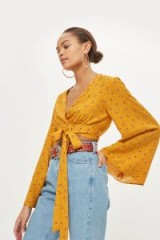 Topshop Floral jacquard wrap top | mustard-yellow kimono style crop tops