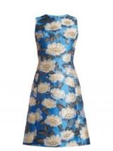 DOLCE & GABBANA Blue Floral-jacquard sleeveless A-line dress