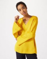 JIGSAW FLUTED SLEEVE BLOUSE PRIMROSE / yellow wide cuff tops