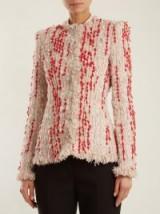ALEXANDER MCQUEEN Frayed-hem red, pink, and white tweed blazer ~ chic blazers