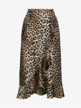 Ganni Leopard Print Silk Skirt   animal prints   wrap style ruffle skirts