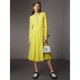 BURBERRY Gathered Silk Georgette Dress Neon green ~ spring dresses