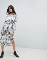 Gestuz Silk Long Shirt Dress With Tie ~ silky floral dresses