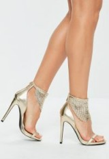 Missguided gold chain mail cuff heel – glamorous party heels