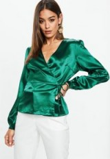 Missguided green satin wrap front blouse – silky blouses