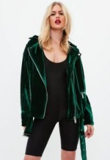 Missguided green textured velvet jacket – casual jewel tone jackets