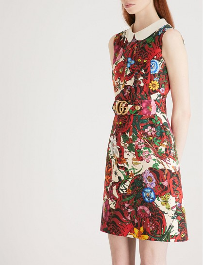 GUCCI Floral-print sleeveless wool and silk-blend mini dress – bold prints – Peter Pan collar dresses