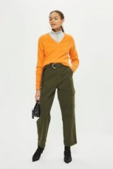 Topshop High Waisted Utility Trousers | khaki-green relaxed fit pants