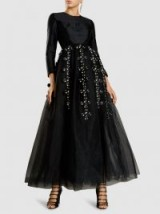 ‎HUISHAN ZHANG‎ Lilydrop Embellished Sateen And Organza Gown | black special event gowns | fairytale dresses