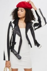 TOPSHOP Humbug Leather Jacket – monochrome striped jackets