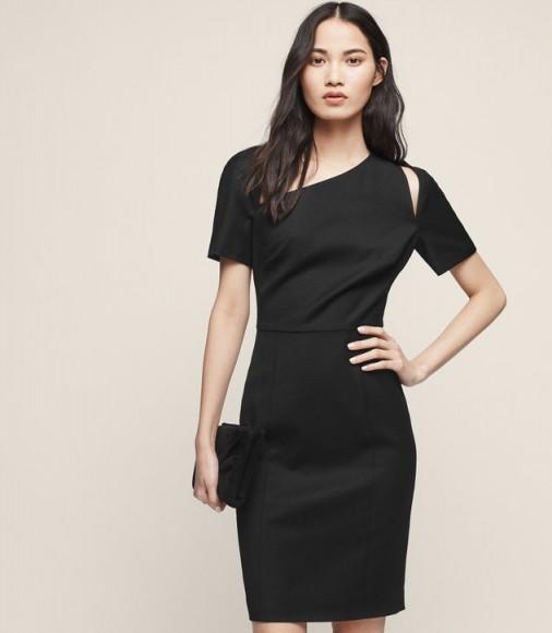 REISS HUXLEY SS DRESS ASYMMETRIC NECKLINE DRESS BLACK ~ chic lbd ~ cut out pencil dresses