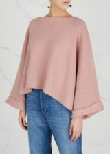FREE PEOPLE I Can't Wait chunky-knit pink cotton blend jumper | wide sleeve relaxed fit jumpers