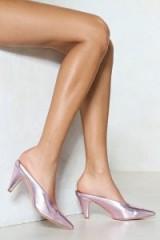 NASTY GAL In All Cases Metallic Mule – rose pink mules