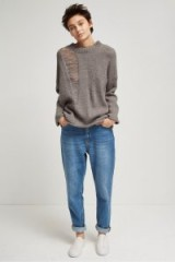 FRENCH CONNECTION ISABELLE KNIT LADDERED JUMPER | mink grey distressed jumpers