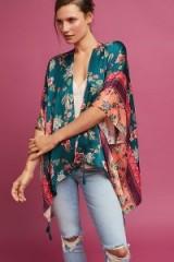 Kachel Jade Floral Silk Kimono ~ short green kimonos ~ oriental style lightweight jackets