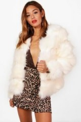 boohoo Jasmine Faux Fur Panelled Coat – fluffy beige coats – affordable luxe jackets
