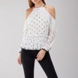 COAST Jemima Spot Mesh Top | cold shoulder