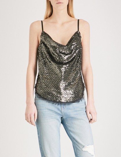 KENDALL & KYLIE Draped sequin camisole – shimmering cowl front tops