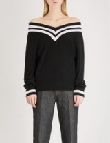 KENDALL & KYLIE Off-the-shoulder wool and cashmere-blend jumper – monochrome bardot sweaters