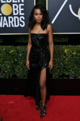 Kerry Washington shimmered on the red carpet at the 2018 Golden Globes, wearing a black strapless sequin dress by Prabal Gurung, and a pair of gorgeous floral embellished booties ~ celebrity event dresses ~ star looks