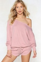 NASTY GAL Kick Back and Relax Lounge Set – nude pink leisure shorts set