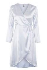 Topshop Kimono Wrap Dress in ice blue | silky oriental style dresses