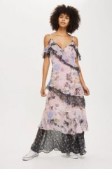 TOPSHOP Lace Trim Maxi Dress ~ long tiered floral print dresses