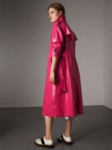 BURBERRY Laminated Cotton Trench Coat Neon Pink ~ shiny macs
